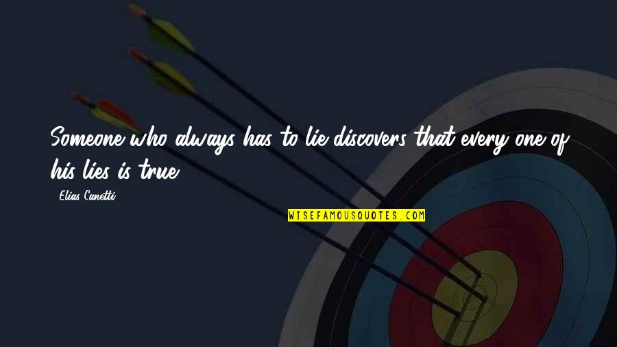Elias Canetti Quotes By Elias Canetti: Someone who always has to lie discovers that