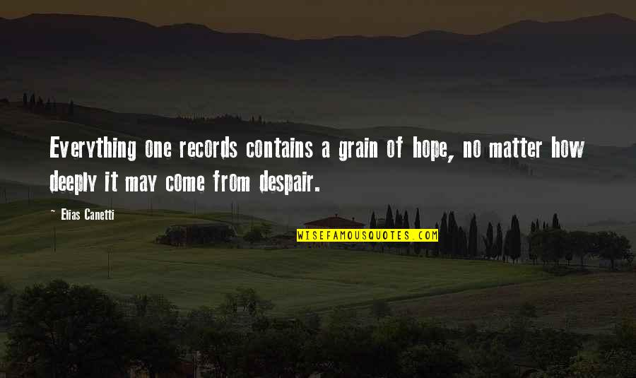 Elias Canetti Quotes By Elias Canetti: Everything one records contains a grain of hope,