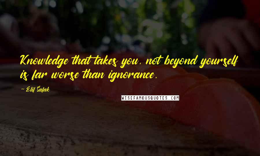 Elif Safak quotes: Knowledge that takes you, not beyond yourself is far worse than ignorance.