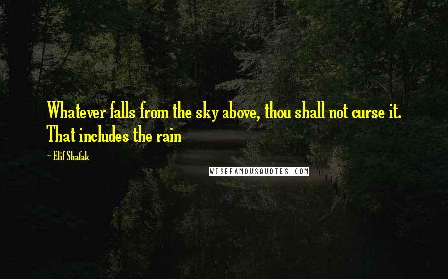 Elif Shafak quotes: Whatever falls from the sky above, thou shall not curse it. That includes the rain