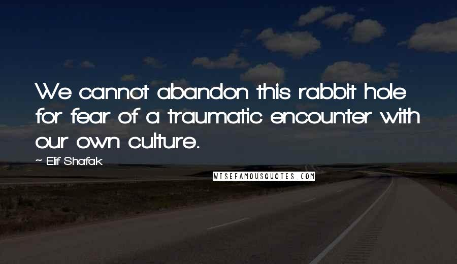 Elif Shafak quotes: We cannot abandon this rabbit hole for fear of a traumatic encounter with our own culture.