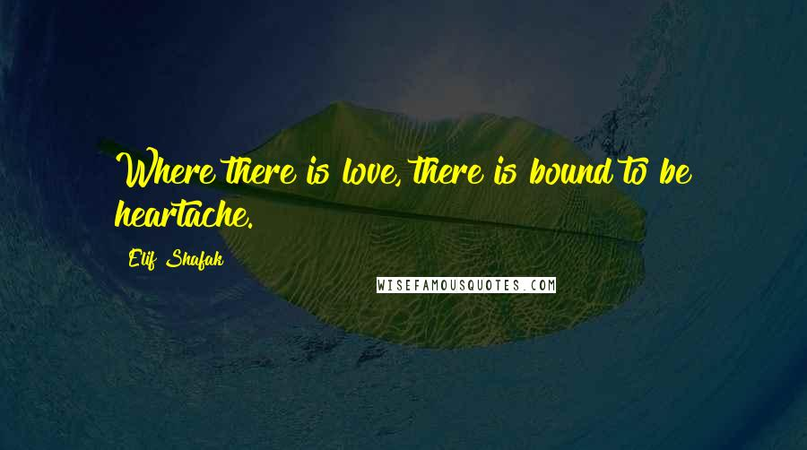 Elif Shafak quotes: Where there is love, there is bound to be heartache.