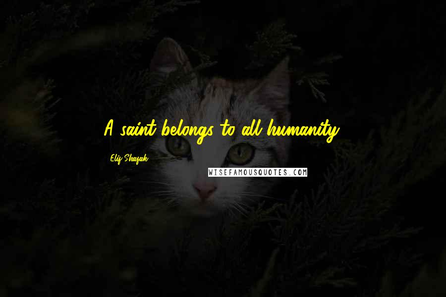 Elif Shafak quotes: A saint belongs to all humanity.