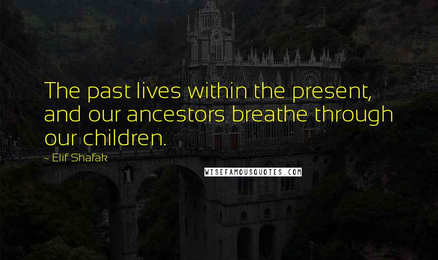 Elif Shafak quotes: The past lives within the present, and our ancestors breathe through our children.