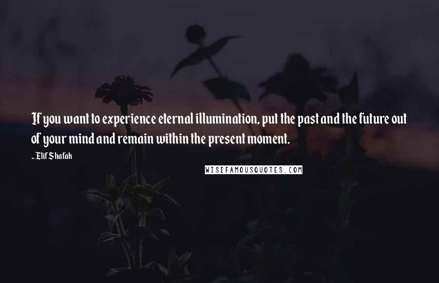 Elif Shafak quotes: If you want to experience eternal illumination, put the past and the future out of your mind and remain within the present moment.