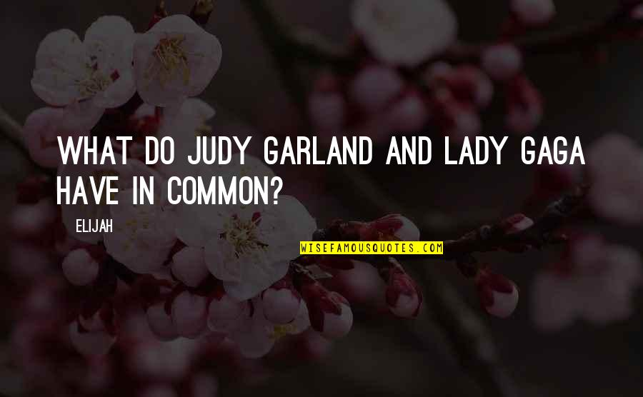 Elijah Quotes By Elijah: What do Judy Garland and Lady Gaga have