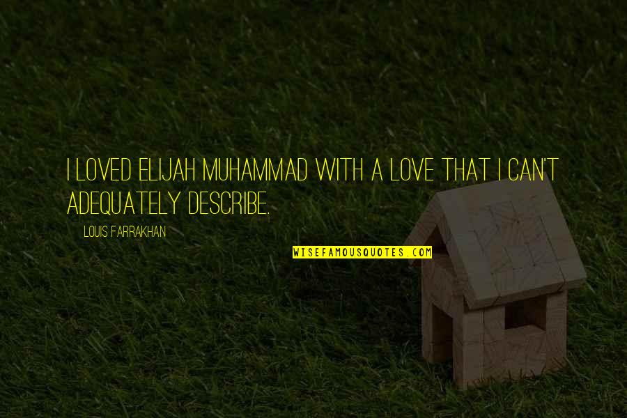 Elijah Quotes By Louis Farrakhan: I loved Elijah Muhammad with a love that
