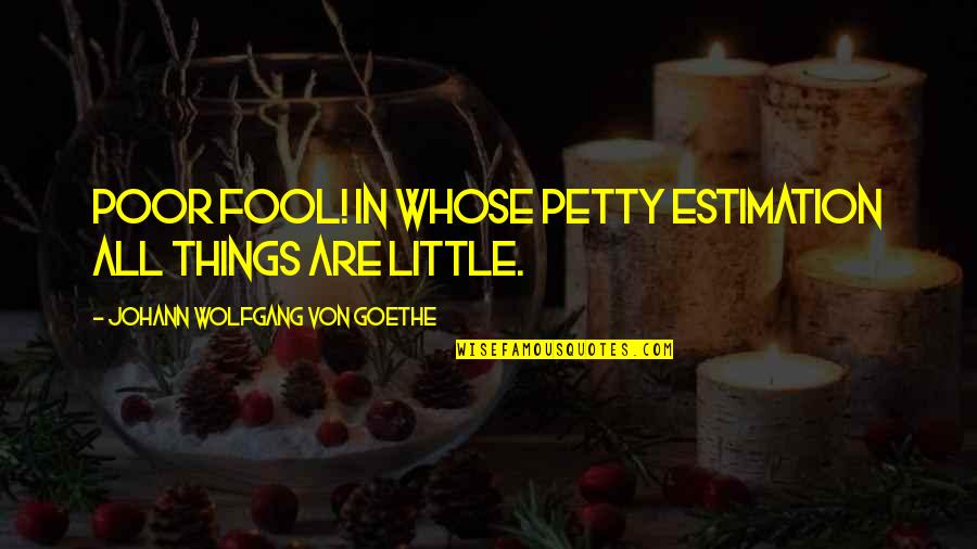 Elizabeth Ashley Quotes By Johann Wolfgang Von Goethe: Poor fool! in whose petty estimation all things