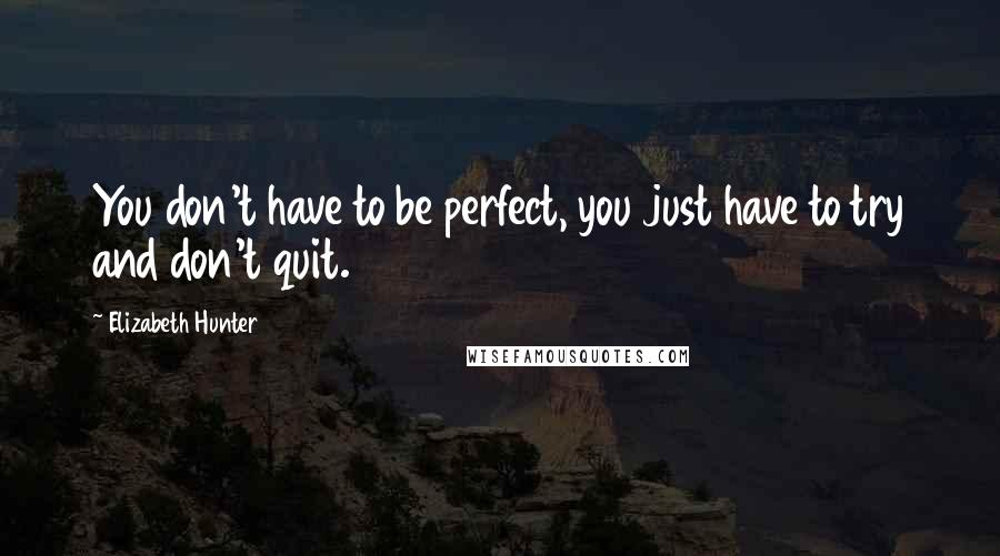 Elizabeth Hunter quotes: You don't have to be perfect, you just have to try and don't quit.