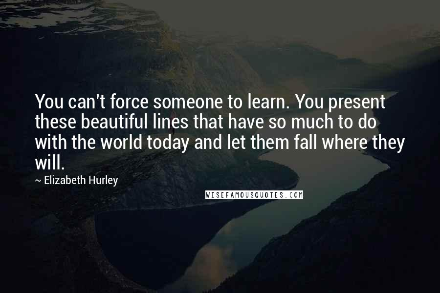 Elizabeth Hurley quotes: You can't force someone to learn. You present these beautiful lines that have so much to do with the world today and let them fall where they will.