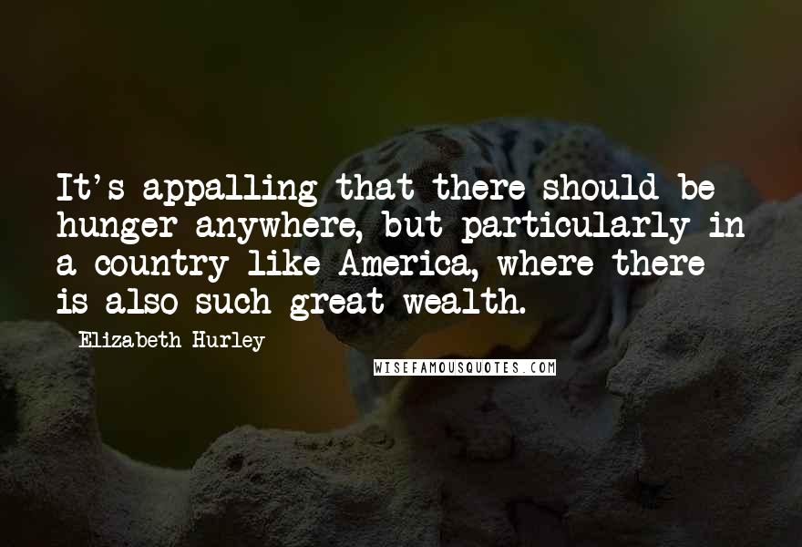 Elizabeth Hurley quotes: It's appalling that there should be hunger anywhere, but particularly in a country like America, where there is also such great wealth.