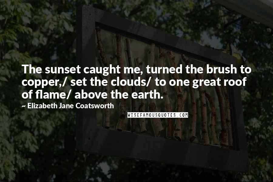 Elizabeth Jane Coatsworth quotes: The sunset caught me, turned the brush to copper,/ set the clouds/ to one great roof of flame/ above the earth.