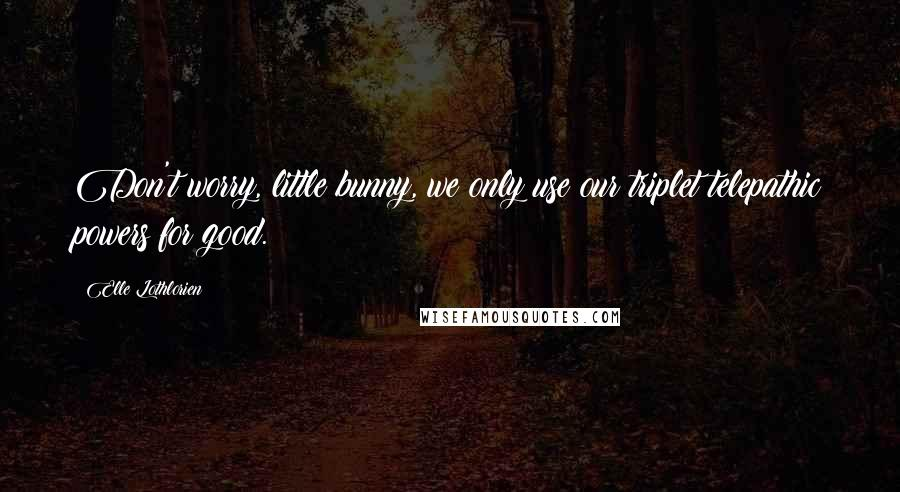 Elle Lothlorien quotes: Don't worry, little bunny, we only use our triplet telepathic powers for good.
