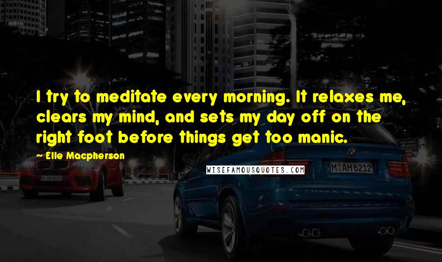 Elle Macpherson quotes: I try to meditate every morning. It relaxes me, clears my mind, and sets my day off on the right foot before things get too manic.