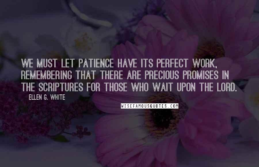 Ellen G. White quotes: We must let patience have its perfect work, remembering that there are precious promises in the Scriptures for those who wait upon the Lord.