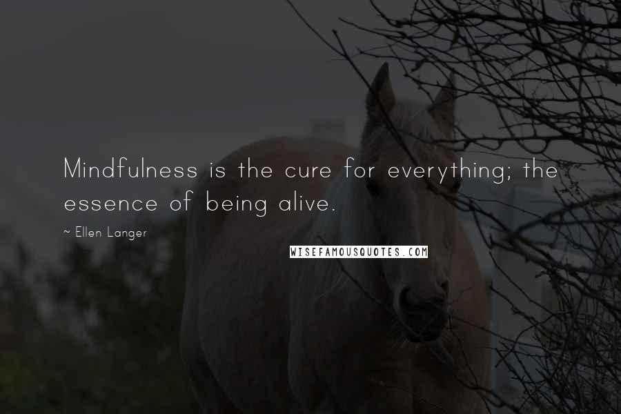 Ellen Langer quotes: Mindfulness is the cure for everything; the essence of being alive.
