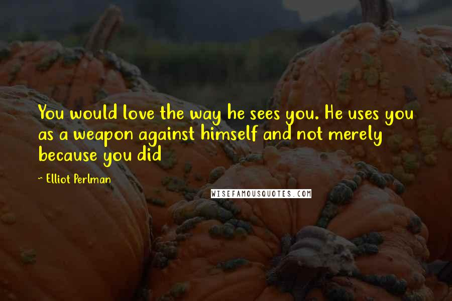 Elliot Perlman quotes: You would love the way he sees you. He uses you as a weapon against himself and not merely because you did