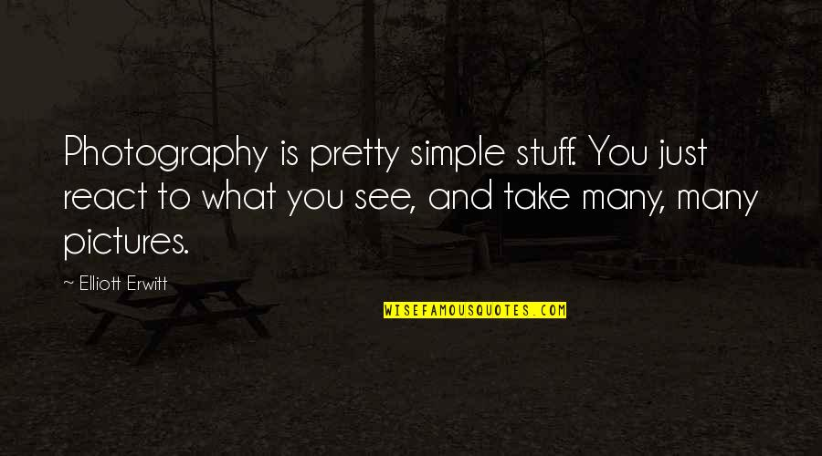 Elliott Erwitt Quotes By Elliott Erwitt: Photography is pretty simple stuff. You just react