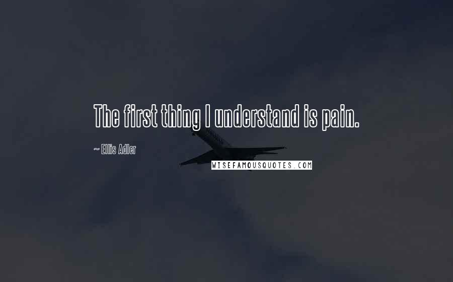 Ellis Adler quotes: The first thing I understand is pain.