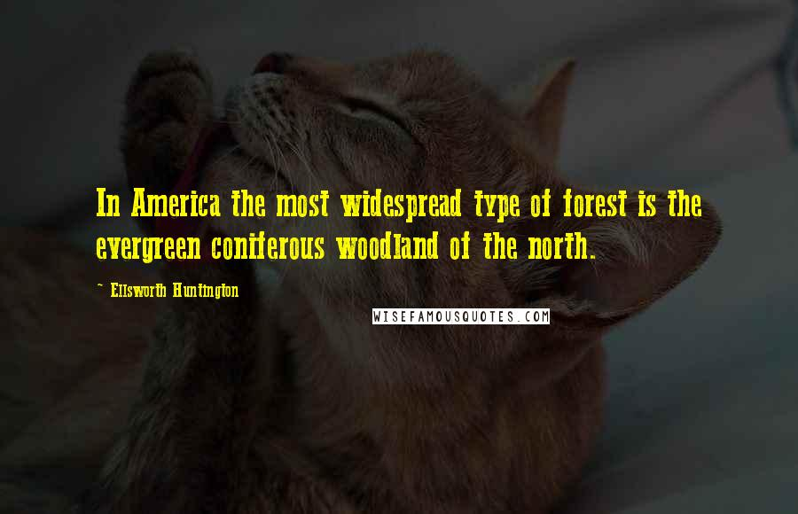 Ellsworth Huntington quotes: In America the most widespread type of forest is the evergreen coniferous woodland of the north.