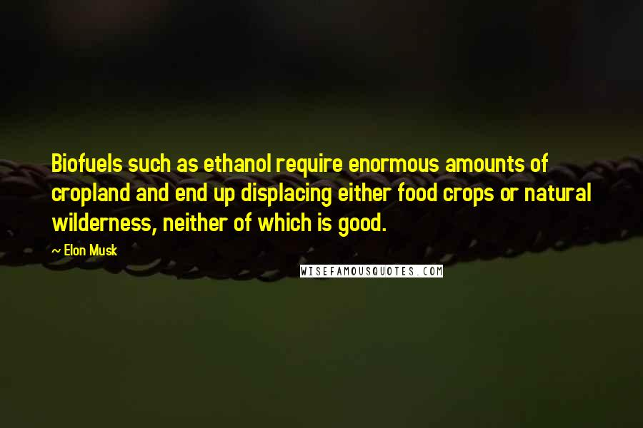 Elon Musk quotes: Biofuels such as ethanol require enormous amounts of cropland and end up displacing either food crops or natural wilderness, neither of which is good.