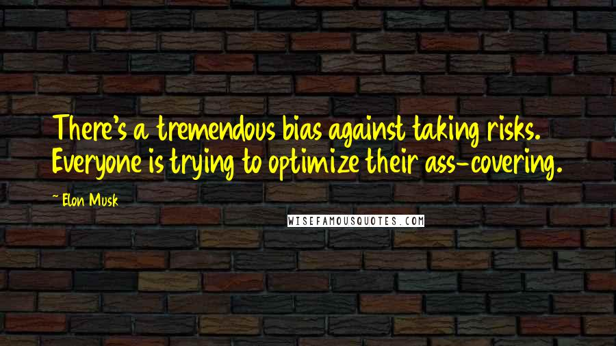 Elon Musk quotes: There's a tremendous bias against taking risks. Everyone is trying to optimize their ass-covering.