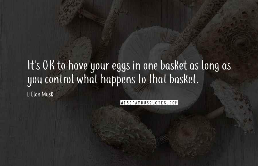 Elon Musk quotes: It's OK to have your eggs in one basket as long as you control what happens to that basket.