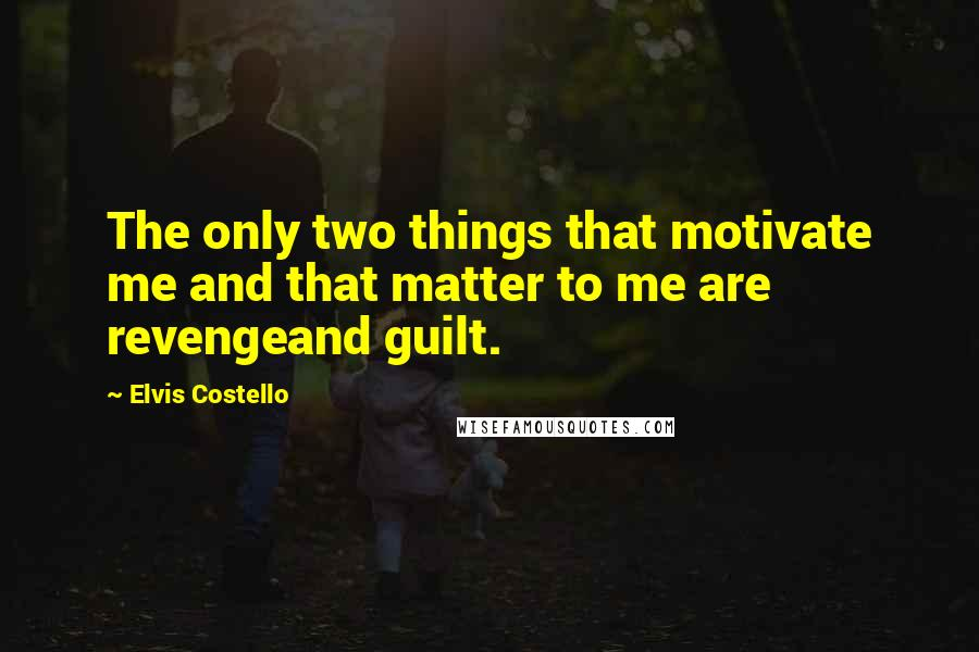 Elvis Costello quotes: The only two things that motivate me and that matter to me are revengeand guilt.