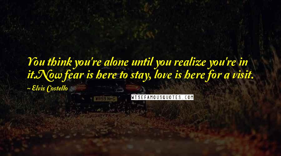 Elvis Costello quotes: You think you're alone until you realize you're in it.Now fear is here to stay, love is here for a visit.