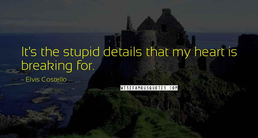 Elvis Costello quotes: It's the stupid details that my heart is breaking for.