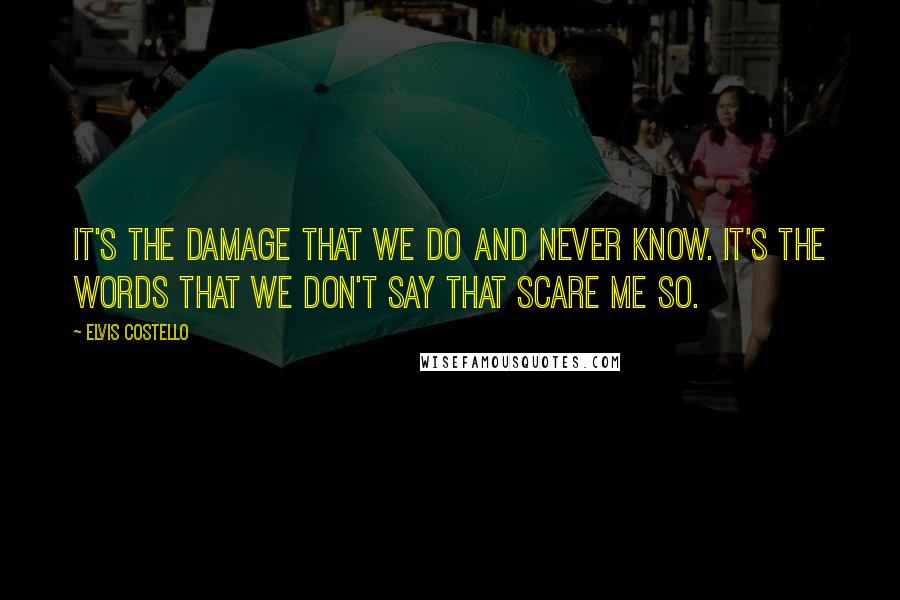 Elvis Costello quotes: It's the damage that we do and never know. It's the words that we don't say that scare me so.