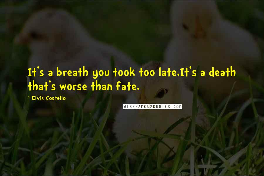 Elvis Costello quotes: It's a breath you took too late.It's a death that's worse than fate.