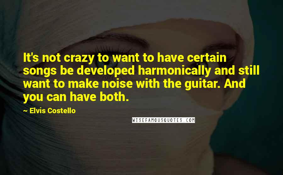 Elvis Costello quotes: It's not crazy to want to have certain songs be developed harmonically and still want to make noise with the guitar. And you can have both.