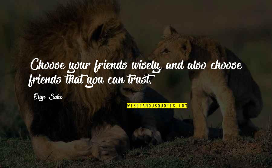 Elyn R Saks Quotes By Elyn Saks: Choose your friends wisely, and also choose friends