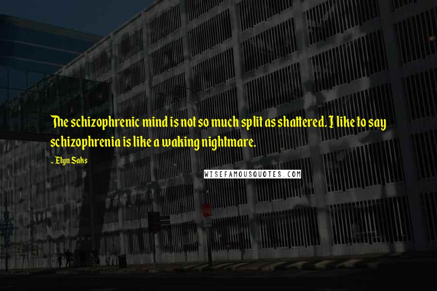 Elyn Saks quotes: The schizophrenic mind is not so much split as shattered. I like to say schizophrenia is like a waking nightmare.