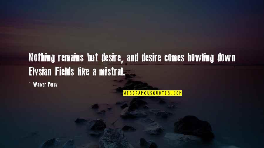 Elysian Fields Quotes By Walker Percy: Nothing remains but desire, and desire comes howling