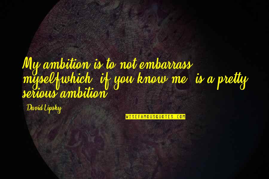 Embarrass Quotes By David Lipsky: My ambition is to not embarrass myselfwhich, if