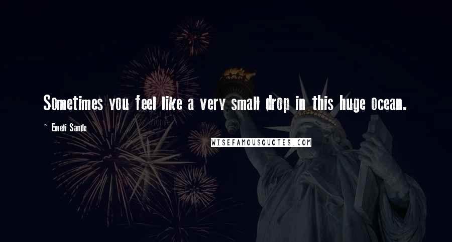 Emeli Sande quotes: Sometimes you feel like a very small drop in this huge ocean.