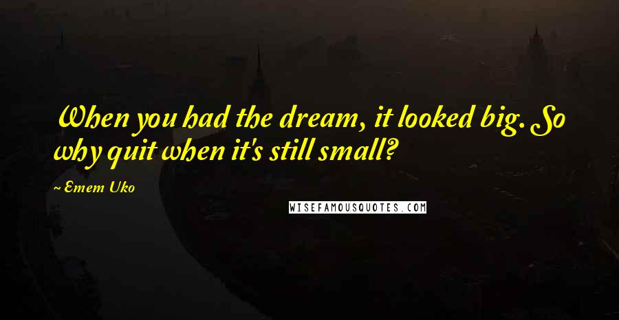 Emem Uko quotes: When you had the dream, it looked big. So why quit when it's still small?