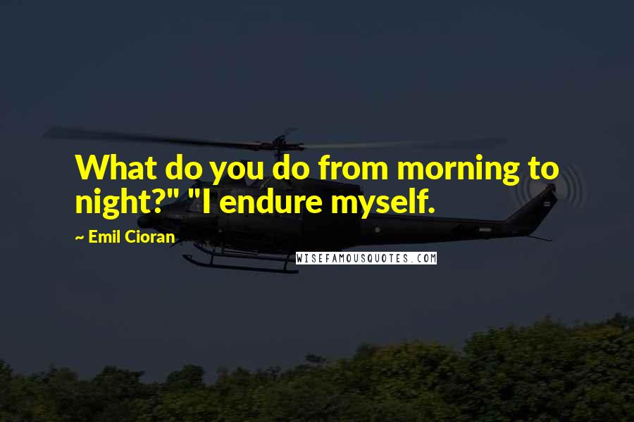 """Emil Cioran quotes: What do you do from morning to night?"""" """"I endure myself."""