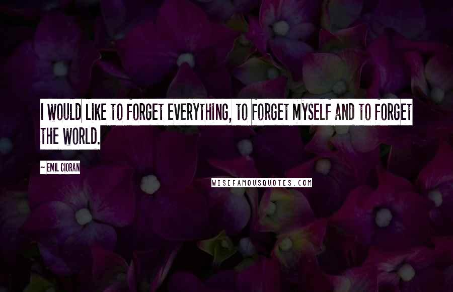 Emil Cioran quotes: I would like to forget everything, to forget myself and to forget the world.