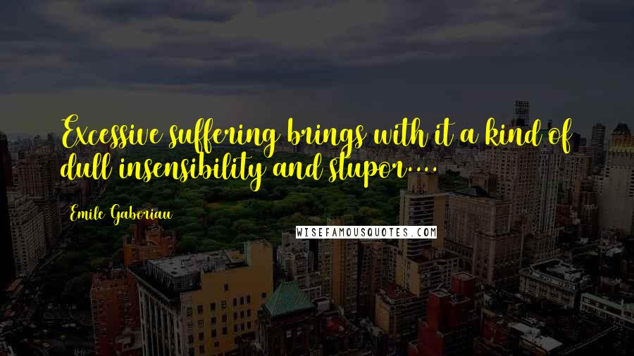 Emile Gaboriau quotes: Excessive suffering brings with it a kind of dull insensibility and stupor....