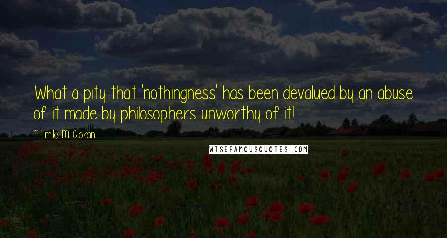 Emile M. Cioran quotes: What a pity that 'nothingness' has been devalued by an abuse of it made by philosophers unworthy of it!
