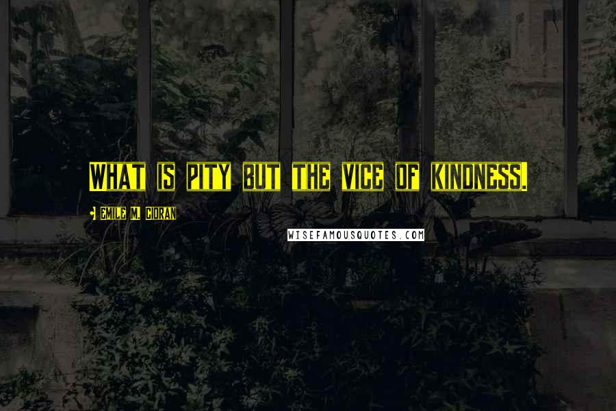 Emile M. Cioran quotes: What is pity but the vice of kindness.
