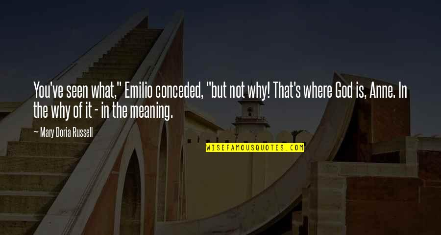 """Emilio Quotes By Mary Doria Russell: You've seen what,"""" Emilio conceded, """"but not why!"""