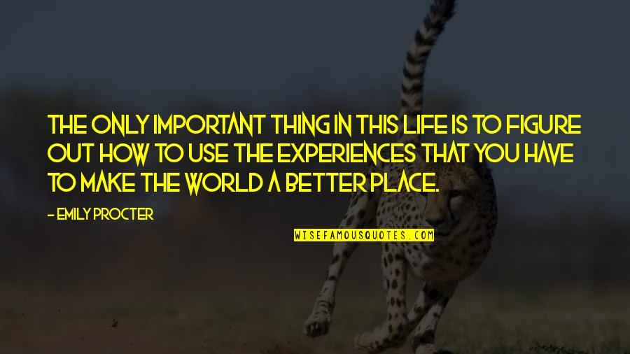 Emily Procter Quotes By Emily Procter: The only important thing in this life is