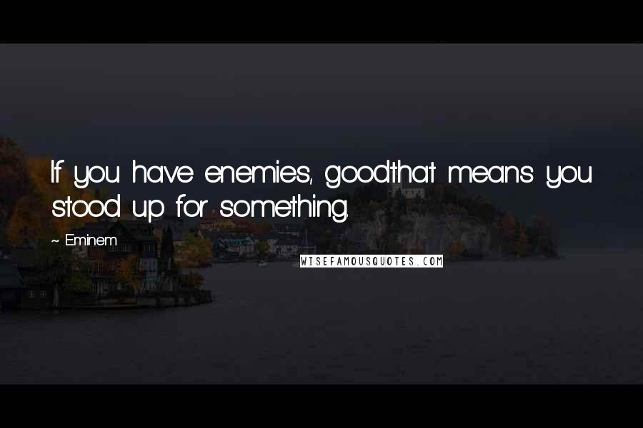 Eminem quotes: If you have enemies, goodthat means you stood up for something.