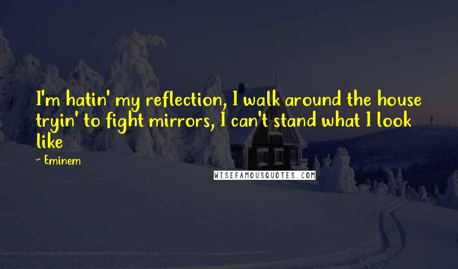 Eminem quotes: I'm hatin' my reflection, I walk around the house tryin' to fight mirrors, I can't stand what I look like