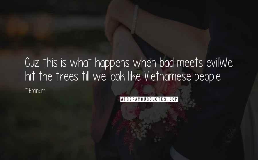 Eminem quotes: Cuz this is what happens when bad meets evilWe hit the trees till we look like Vietnamese people