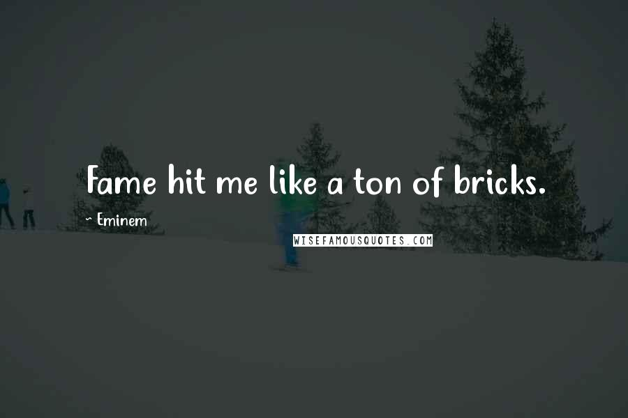 Eminem quotes: Fame hit me like a ton of bricks.